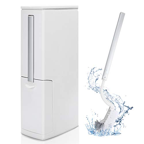 GEMITTO Toalettborste avfallsbehållare set slimline badrumskorg 4 i 1 badrum toaletthållare borste soptunna sopor multifunktionell smal skräp ben dold toalettborste hållare beige