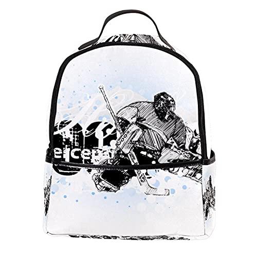 Longfind Backpack Rucksack Schulrucksack rucksäcke mit Laptopfach für Camping Outdoor Sport Mädchen Jungen schwarz grau handbemaltes Eishockey