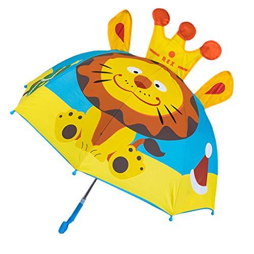 Paraguas para niños y niñas, diseño de Dibujos Animados con Orejas de Animal, Paraguas de Princesa con Mango Largo, Seguro y portátil