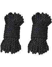 WYMAODAN Zachte Polyester Touw Koord, 2 STKS 10 M/33 Voeten 7 MM All Purpose Rope Craft Touw 100% Nylon Touw Natuurlijke Twisted Duurzaam Lange Touwen (Zwart)