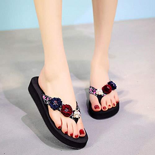 MLLM En zapatillas de secado rápido, personajes de flores hacia el arrastre rojo, parte inferior gruesa antideslizante, zapatos de playa de vacaciones-F_39, Zapatillas de baño para hombres y mujeres