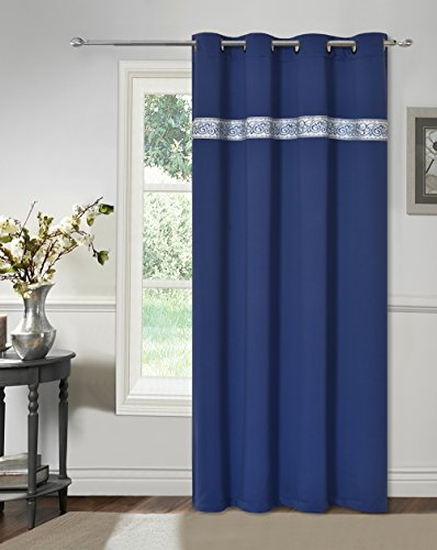 GOHD - Sweet Dream. Blackout Room Darkening Curtain Window Panel Drape with Tapestry/Jacquard Trimming Insert. 1 Panel with 8 Grommets (Royal Blue, 52 inch Wide x 84 inch Long)