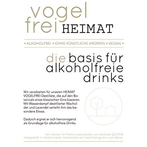 VOGELFREI alkoholfreie Gin Alternative mit 21 fruchtigen Botanicals aus der HEIMAT Destille wie Zitronenverbene, Thymian, Wiesensalbei und Wacholder - Handcrafted (1 x 0,5l) - 5
