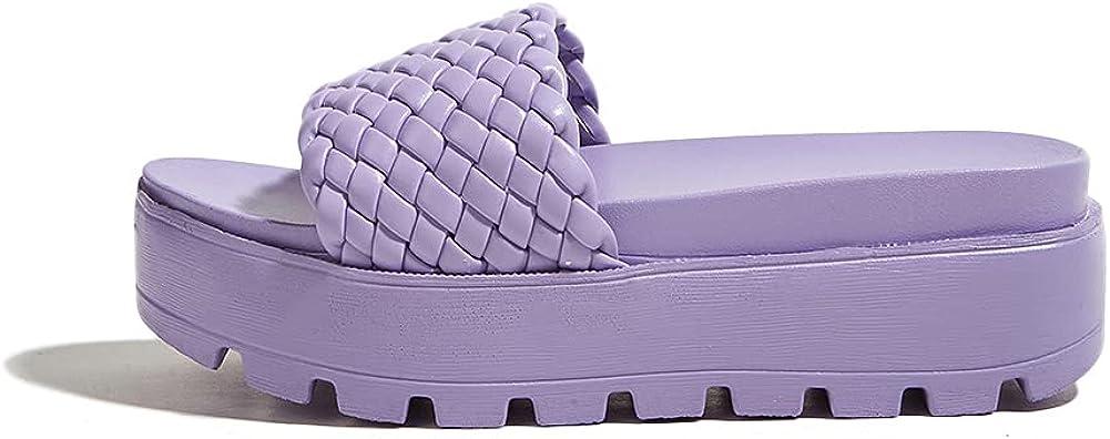 LUCKY STEP Women's Platform Flatform Slide Sandals Open Toe Casual Wedge Sandal
