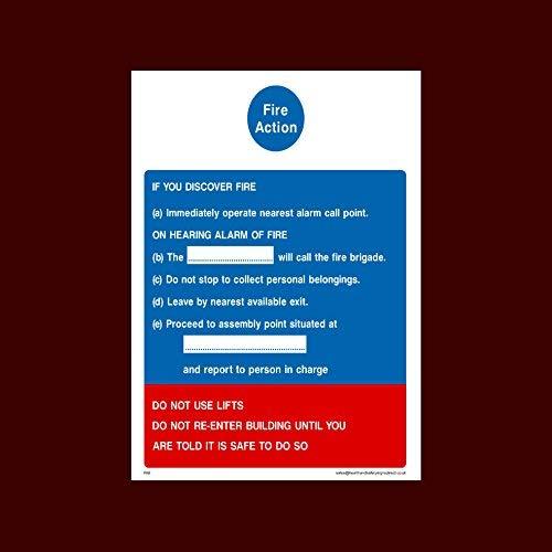 Vuuractie - Bij het horen van een alarmbord Stickers Zelfklevende Vinly Warning Stickers Lable (Fa9) - Vuur, Montagepunt, Break Glas, Lift, Alarm, Blusser