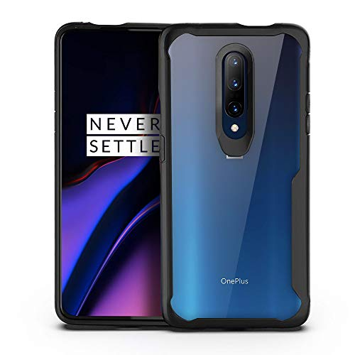 Olixar for OnePlus 7 Pro Bumper Case - Shockproof Transparent Bumper Cover - Hard Slim Frame with Air Cushion Protection - Anti-Scratch Clear Back - NovaShield - Black