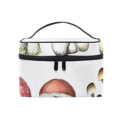 HARXISE Große Reise Kosmetiktasche für Frauen,Hand gezeichnetes Pilzmuster Amanita Muscaria Boletus Champignon,Reise für Frauen Make Up Bag
