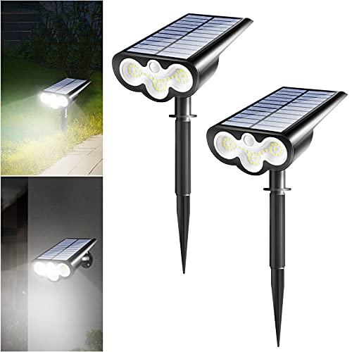 Solarlampen für Außen, [2 Stück] 300LM Solarleuchten Garten 2 Modi mit Bewegungsmelder, Wandleuchten und Gartenleuchten IP65 Wasserdicht Strahler für Bäume, Rasen, Sträucher, Gartenweg