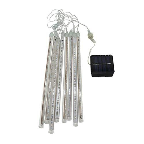 ZHUSHI 30 cm, 10 tubos de ducha de meteoros, impermeables, impermeables, 360 LED, luz de lámpara de energía solar, luz de Navidad, boda, jardín (color: colorido)
