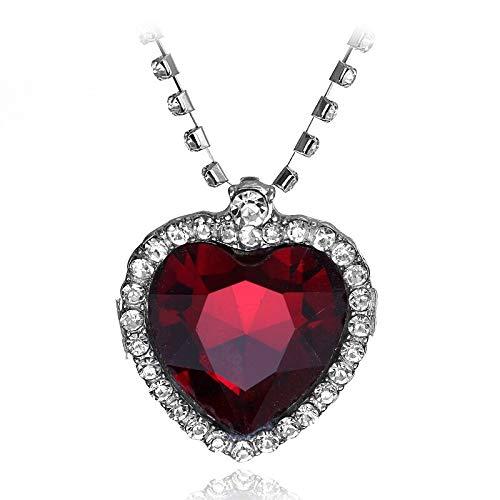 Colgante de cristal con forma de corazón del océano para mujer