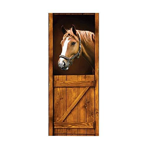 Dracol Papel pintado 3D para puerta de caballos, papel pintado fotográfico artístico, adhesivo decorativo para pared, panel de puerta, adhesivo para salón, cocina, dormitorio, decoración, 77 x 200 cm