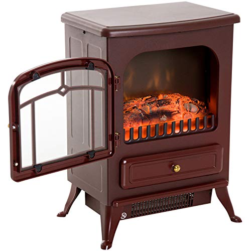 Fireplaces New Red,750/1500W Electric Freestanding Fire Flame Stove Heater...