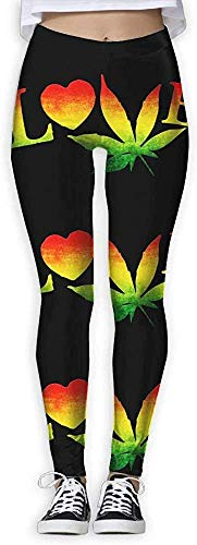 Monicago Love Pot Weed Pot Leaf Womens Full-Length Sports Running Yoga Workout Leggings Pants Stretchable