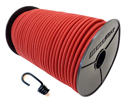 6 mm 30 m expander rope rubber rope + 40 spiral hooks with PE sheath, rubber rope, tarpaulin rope, tarpaulin in red.