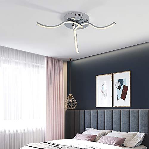 Plafoniere a LED da Soffitto in Cristallo, 21W Lampadario Luce Bianca Naturale 4000K, D50*H8cm, Lampadari Moderni LED Design Curvo con 3 Bracci, Per Interni soggiorno studio camera da letto
