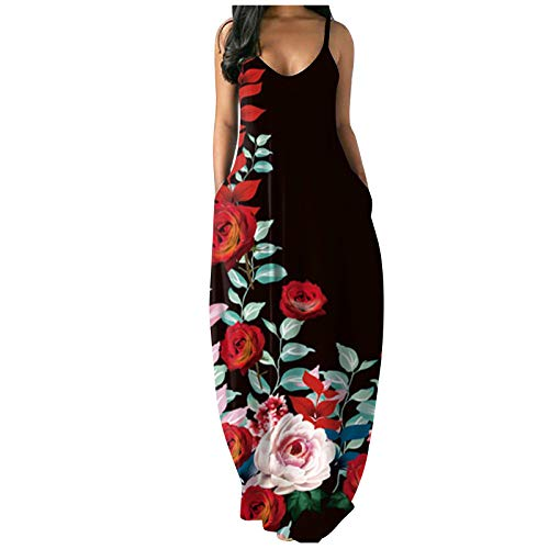 Dress for Women Casual Summer Pockets Plus Size Sleeveless Dress Sexy V Neck Loose Long Maxi Party Dress