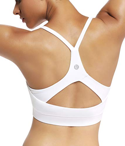 RUNNING GIRL Stappy Sports Bra for Women Sexy Open Back Medium Support Yoga Bra with Removable Cups(WX2311.White.S)