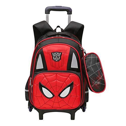 MODRYER I Bambini Backpack Set Spider-Man Trolley Scuola Luminous 6 Ruote Zaino Ragazza del Capretto Ragazzi Student Daypack Pranzo al Sacco per Il Viaggio,Red