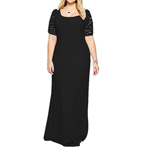 Janlyy Vestido de mujer, talla grande, para noche, boda, fiesta, encaje, manga...