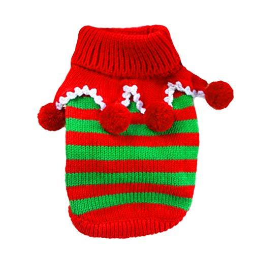 Balacoo Hundepullover Weihnachten Hund Rollkragen Hund Jester Kostüm gestreift Pullover für Weihnachten Weihnachten Urlaub Winter (Rot und Weiß, Größe XXS)