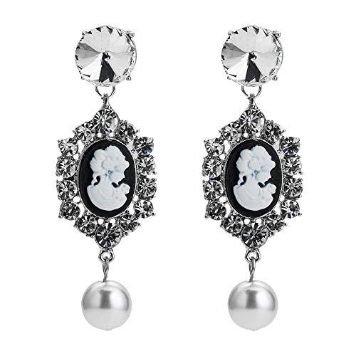 ZRDMN Übertriebene europäische und amerikanische Ohrringe mit Diamanten wie Nachahmungen von Perlenohrringen, modische Retro-Bohemian-Ohrstecker, Dangler, Ohrhänger, Schmuck für Frauen, Mädchen