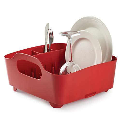 Umbra Tub Dish Rack all-in-One per la Cucina, Plastica, Rosso, 36.83x33.52x18.03 cm