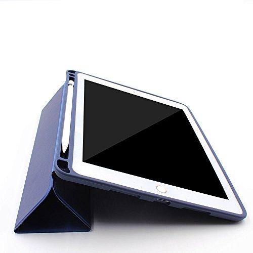 PINHEN For iPad Pro 10.5 ケース/iPad Air 10.5インチ(2019)Apple Pencil収納 スタンド機能 Pinhen 10.5インチ iPad Pro 保護カバー シンプル 三つ折タイプ 全面保護型 傷つけ防止保護カバーペンホルダー付き iPad Pro10.5用 (10.5, Blue)