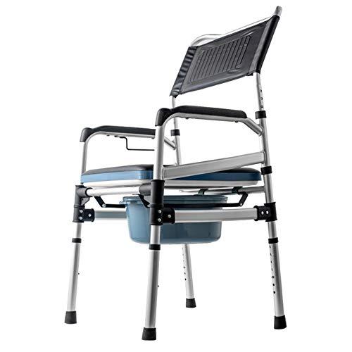 Pot Toilettenstuhl mit Rollen, Höhenverstellbar Klappbar mit Bremse und Fußstütze, für Schwangere Frauen mit Behinderungen