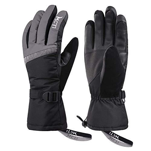 Kineed Skihandschuhe Damen Touchscreen Winterhandschuhe Wasserdicht Snowboardhandschuhe Winter Warm Schnee Handschuhe Winddicht 3M Thinsulate Grau S