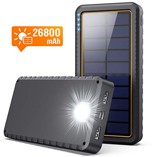 SWEYE Solar Powerbank 26800mAh mit USB-C Eingang Solar Ladegerät mit 3 Modes LED-Beleuchtung Power Bank mit SOS Externer Akku Akkupack mit 2 Ausgänge für Handy Tablet und USB-Geräten, für Camping