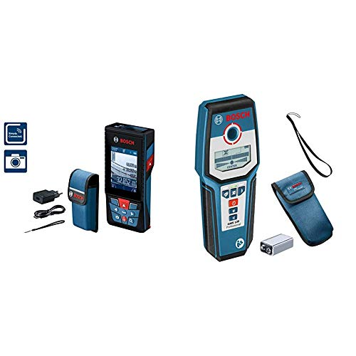 Bosch Professional Laser Entfernungsmesser GLM 120 C (Kamera, Bluetooth-Datentransfer, max. Messbereich: 120 m, Micro-USB-Kabel & Ladegerät, Trageschlaufe) & digitales Ortungsgerät GMS 120