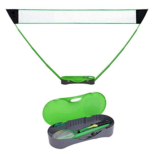 JGRH Bádminton Net Portable Badminton Net Set Dobling Volleyball Tennis Red con Raqueta de Bádminton Soporte para al Aire Libre Patio (Color : Green)