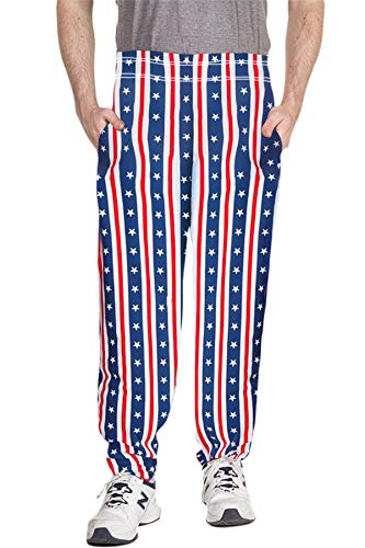BesserBay America Pants for Mens July Fourth Baggy Workout Pants Patriotic Pants for Mens XL
