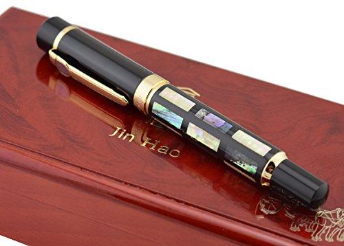 Jinhao 650Bright Pearl Verde oscuro concha de mar bolígrafo de punta redonda, firma Pen Ejecutivo de negocios de lujo con caja de regalo de madera