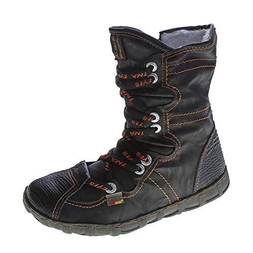 TMA Leder Stiefeletten Damen Schwarz Köchel Schuhe echt Leder Winter Stiefel gefüttert Gr. 37