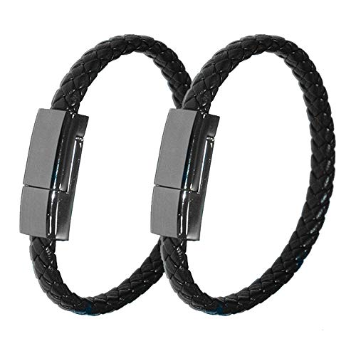 AZT Bracelet USB Charging Cable Data Charging Cord for iPhone-2 Pack Mens Portable Travel Durable Braided Leather Charging Wrist Clasp USB for Apple iPhone Plus X XR Xs Max(Black-8.5 inch)