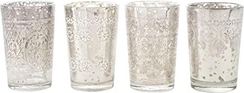 Ornamentales vasos 1001noche, Juego de 4, Cristal