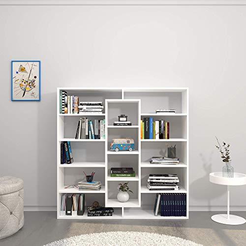 Homemania Libreria Dalia, Legno, Bianco, 130x27x130 cm