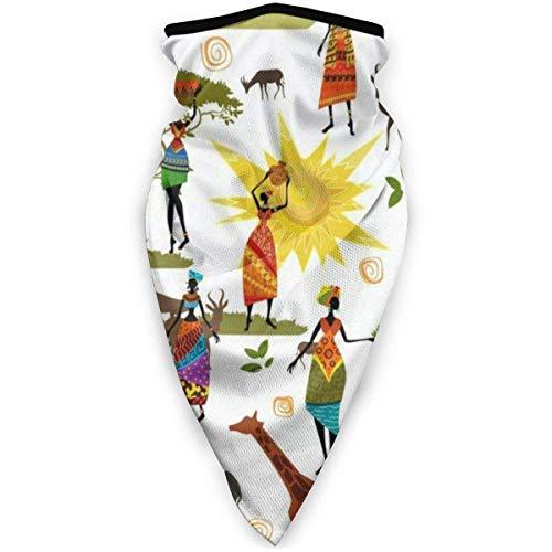 WH-CLA Neck Gaiter Africa Art Elephant Giraffes Headwear Pañuelos Navideños De Invierno Multifuncional Regalos Sin Costuras Festivales Hombres Head Wrap Windproof Printed Neck Polaina Ai