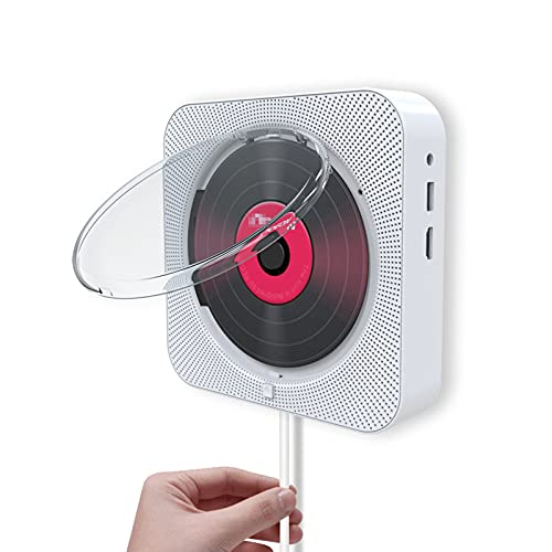 HXXXIN Reproductor De DVD De Montaje En Pared, Reproductor De CD De Audio Bluetooth, Reproductor De CD con Radio, Máquina De Aprendizaje De Educación Prenatal En Inglés,Blanco