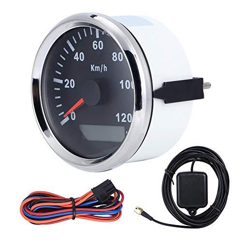 huaer Odómetro para Barcos, velocímetro GPS, velocímetro GPS Universal de 85 mm/3,3 Pulgadas Medidor antivaho Impermeable 0-120 km/h para Motor de Barco de camión de Coche(Marco Plateado Negro)