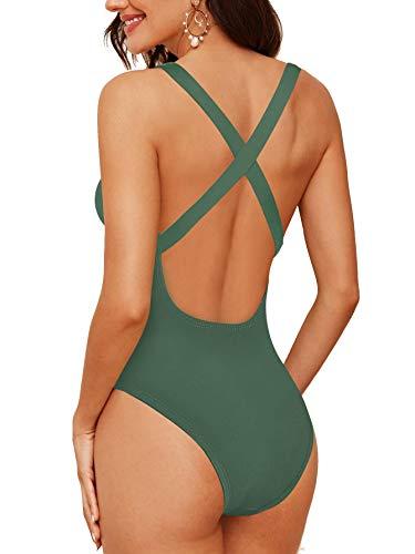 Upopby Womens One Piece Athletic Swimsuit Crisscross Sports Training Racerback Swimwear Plus Size Slimming Bathing Suit