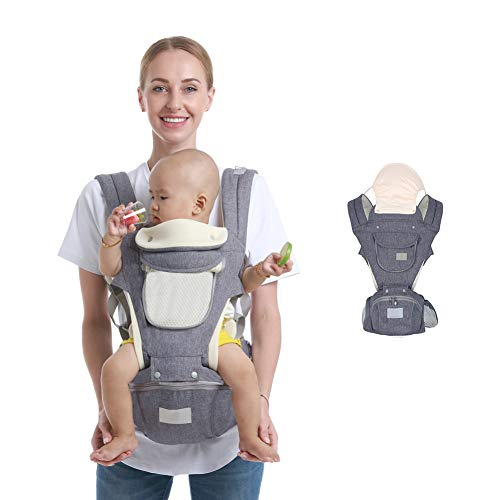 Ergonomic Baby Hip Seat Carrier Baby Waist Stool for Newborn Child Infant Toddler with Cool Air Mesh Windproof Babyhood Comfortable Insert (Dark Grey)