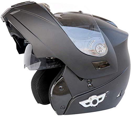 QBAMTX Bluetooth Casco Motocicleta, Completo Modular con Visera Solar Doble Tipo abatible, Casco Certificado por Dot, Sistema de comunicación de intercomunicación Integrado de transmisión FM MP3 i