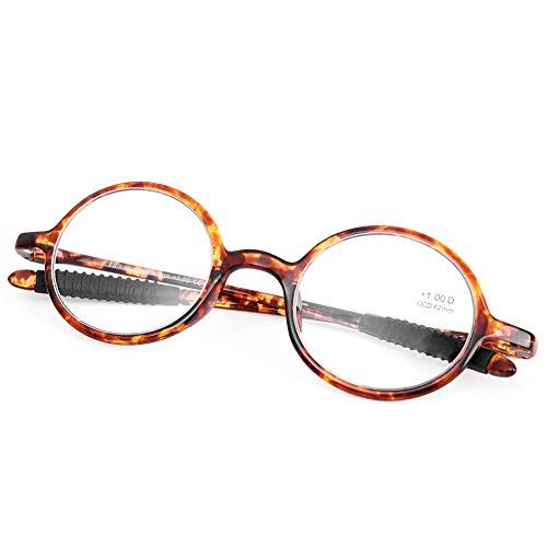 DOOVIC Havana Lesebrille Schildkröte/Rund Rahmen Anti Rutsch Leicht Flexible Brille mit Stärke für Damen/Herren 3,0