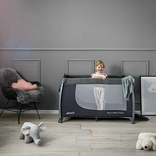 Hauck Play'n Relax Center Reisebett, 7-teiliges, ab Geburt bis 15 kg, faltbar und kippsicher, mit Neugeborenen Einhang, Wickelauflage, seitlicher Ausstieg, Netztasche, Räder, Transporttasche, grau - 25