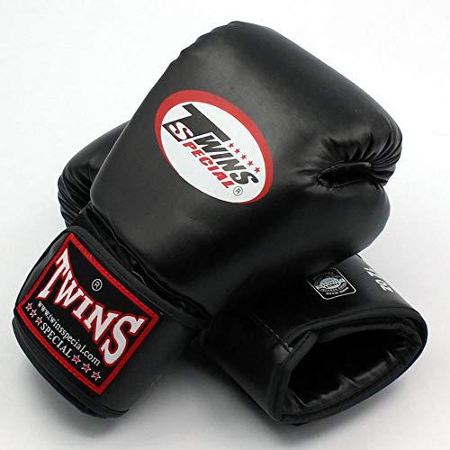 SHOUTAO 8 10 12 14 Unzen Zwillinge Handschuhe Kick Boxhandschuhe PU Leder Sanda Sandsack Training Schwarze Boxhandschuhe Männer Frauen Muay Thai Handschuhe@Schwarz_10oz