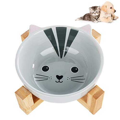 Katzennäpfe Keramik mit Bambus Ständer, VIKEDI Keramik Futternapf Katze, Niedlich Cartoon Muster Keramiknapf für Katzen und kleine Hunde, Keramik Hundenapf Katzennapf, Fressnapf Set aus Keramik