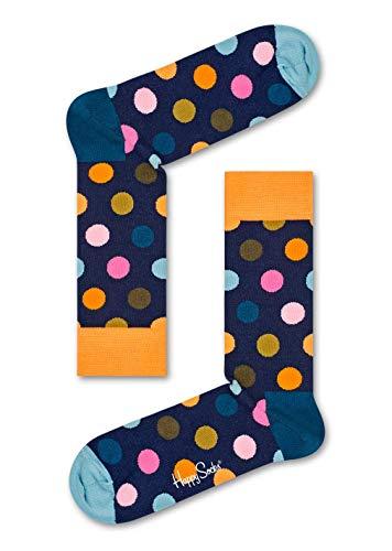 Happy Socks, bunt klassische Baumwolle Socken für Männer & Frauen, Dark Blue Big Dot (41-46)