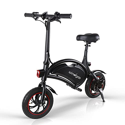 Windgoo B3 Electric Bike, 350W Folding Electric Commuter Cycling, Max Speed 25km/h Adult Electric Bicycle with 42v 6.6ah Battery, Lightweight and Portable with Carrying Handle